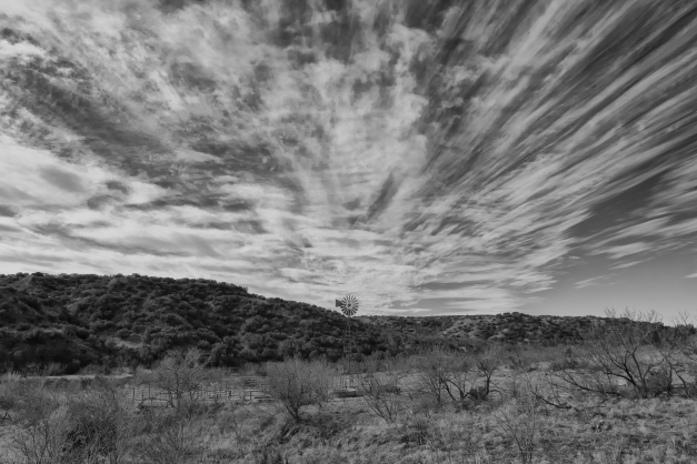 West_TX_Winter_Clouds_Windmill_BW