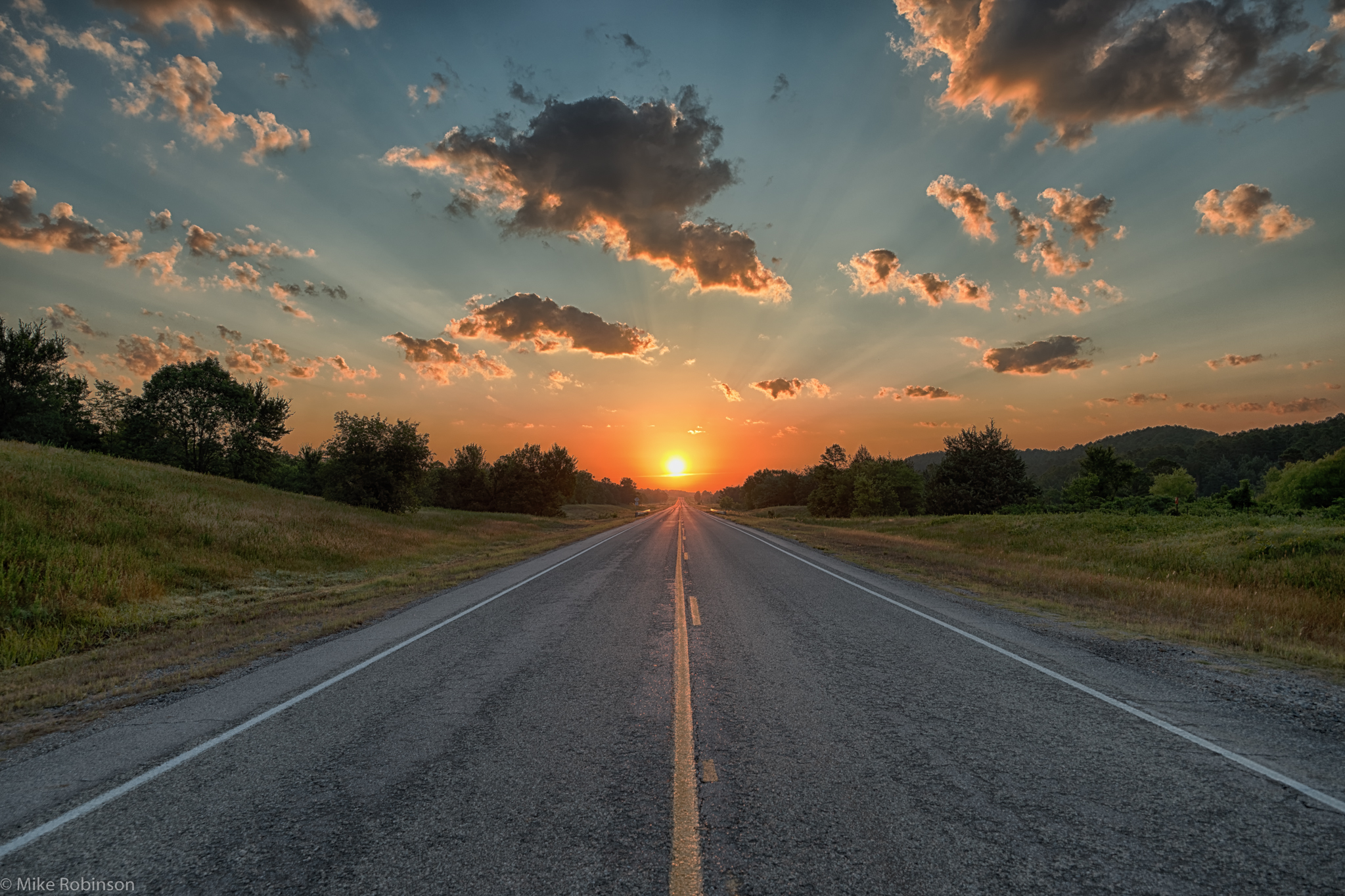 Oklahoma morning road hdr