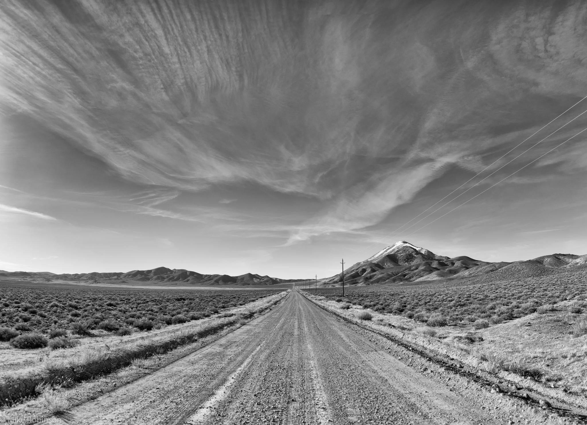 Nevada_Desert_Road_BW